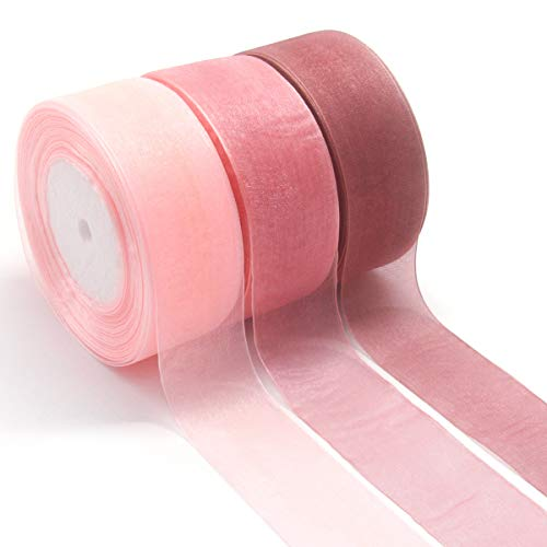NICROLANDEE 3pcs Sheer Chiffon Ribbon 1.5Inch×49 Yards Dusty Rose Fading Ribbon Set for Wedding Gift Package Valentines Bouquets Wrapping Birthday Baby Shower Home Decor Wreath Decorations Fabric