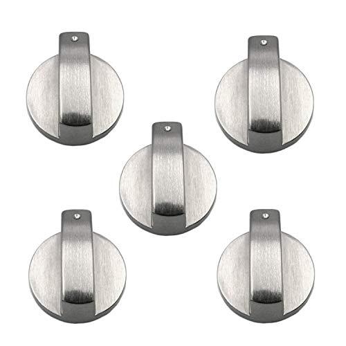 Pomello per fornello a gas, 5 pezzi, 6 mm, in metallo, colore argento, per controllo della superficie di cottura.