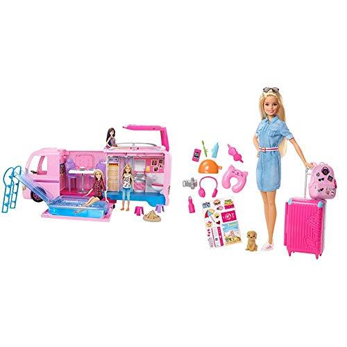 Barbie - Supercaravana de Barbie - Autocaravana barbie - (Mattel FBR34) + Vamos de Viaje, muñeca con Accesorios, Edad Recomendada: 3 años y mas (Mattel FWV25)
