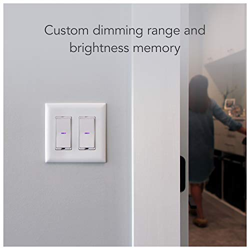 iDevices Dimmer Switch - Wi-Fi enabled smart dimmer switch; Works with Alexa, Siri, & the Google Assistant; Single pole, 3- & 4-way