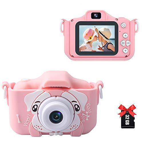 Amycute Cámara fotográfica para niños, pantalla IPS de 2,0 pulgadas, 32,0 megapíxeles, 1080P HD, 40 MP, doble objetivo con tarjeta TF de 32 GB, cámara para niños, apta para niños de 3 a 12 años