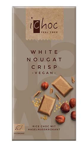 Ichoc White Nougat Crisp, vegane Schokolade, BIO