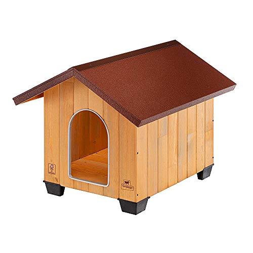 Ferplast Cuccia da esterno per cani DOMUS MEDIUM, legno ecosostenibile, Piedini isolanti in plastica, Griglia per l'aerazione, antimorso in alluminio, 70 x 83 x h 67 cm