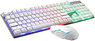 BOXIANGY Suspended button manipulator feel computer keyboard metal bottom plate USB keyboard GT200 Rat Key Set (White)