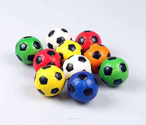 60173 / 4 Stück Knautschball Stressball Fußball 6,3 cm, Fussball, Kickball, Knetball, Antistressball, Wasserball, Spielball, Wurfball