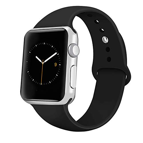 iGK Sport Band Compatible with Apple Watch 38mm/40mm, Soft Silicone Sport Strap Replacement Bands for iWatch Apple Watch Series 4 Series 3, Series 2, Series 1 38mm/40mm Black Small