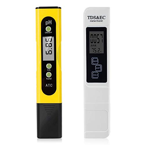 Digital pH Meter and TDS Meter Digital Combo - 0.01 Hight Accuracy pH Meter 0-9990 Measurement Rang ppm Meter, pH/TDS/EC/Temp 4 in 1 Water Testers for Drinking Water,Hydroponics,Pools