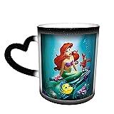 Tazas de té de cerámica con diseño de anime de dibujos animados y sirenita para regalar a la familia y amigos