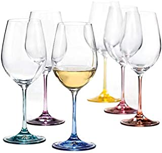 Bohemia Crystal, Spectrum Rainbow, Colored Crystal Wine Glasses, Set of 6, 12 oz, Each Base a Different Color, Lead Free
