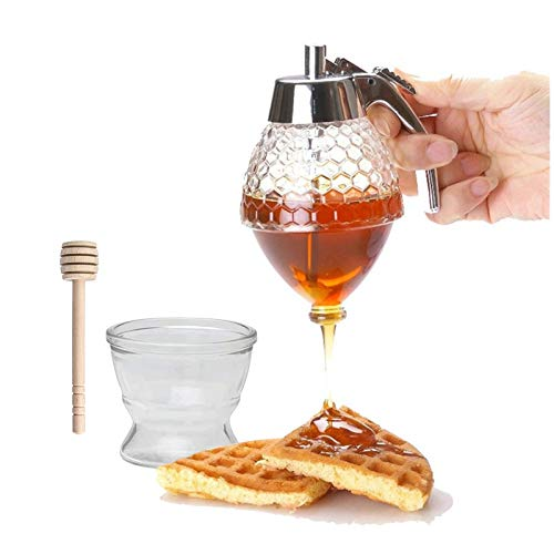 Honey Dispenser, Syrup Dispenser for Pancakes, Honey Pot for Easy Pouring of Syrup, Sugar, Sauces, Condiments, Honey Jar with Stand, No Drip(with a Honey Dipper)