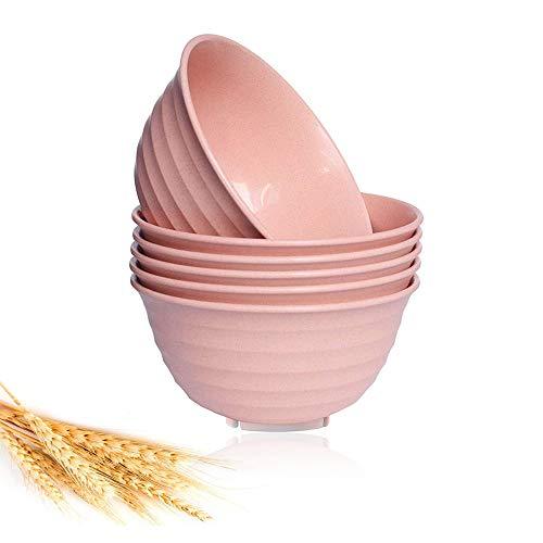 LELE LIFE 6 cuencos de paja de trigo grandes de 17 cm, ligeros, irrompibles y ecológicos, perfectos para cereales, aperitivos, sopa, postre, fideos y frutas, color rosa