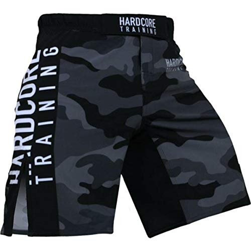 Hardcore Training Night Camo 2.0 Fight Shorts Men's Boxing MMA Combat BJJ Grappling Fitness Muay Thai Kickboxing No Gi (Small)