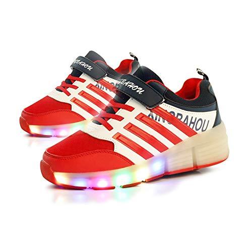 JESU Wheels Shoes Kids LED Roller Skate Shoes, LED Blinkende Rollschuhe, Einzelrad Schuhe Mit Rollen, Leuchtend Skates, Bequeme Atmungsaktive Schuhe,Whitered,39