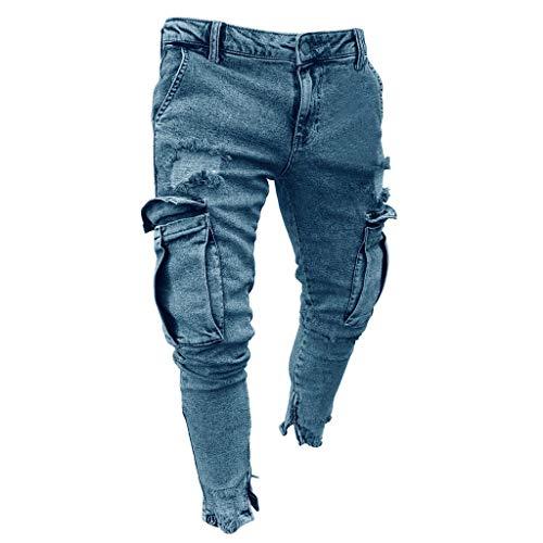 Xiangdanful Herren Jeanshose, Herren Strech Destroyed Slim Fit Denim Jeans Hose,Männer Freizeithosen Streetwear,Skinny Tapered Herrenhose,Jungen Zerrissen Denim Clubwear (L, C-Hellblau)