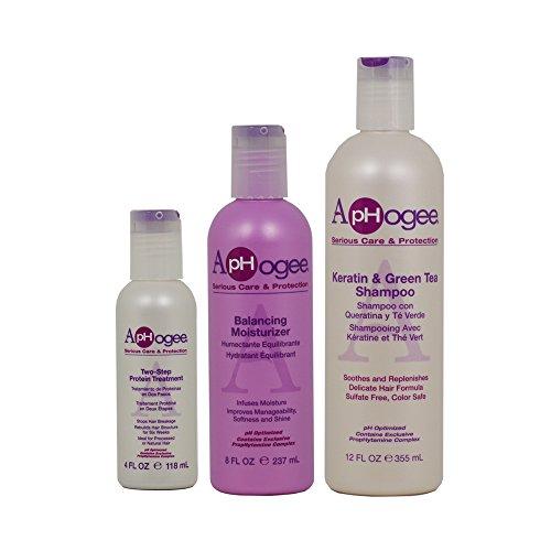 "ApHogee Two-Step Protein Treatment 4oz + Balancing Moisturizer 8oz + Keratin & Green Tea Shampoo 12oz""Set"""