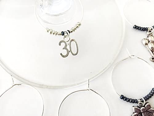 30th Birthday themed Wine Charms Turning Thirty Thirtieth Birthday number 30 charm Set of 6 product image