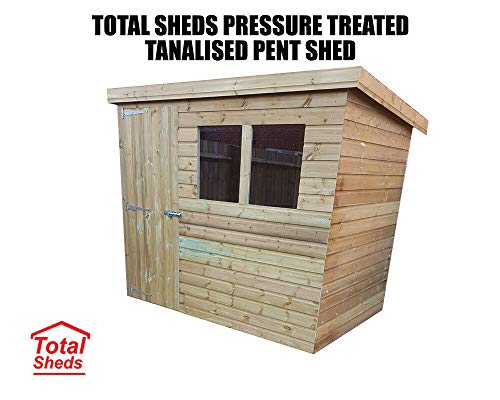 Total Sheds Pent Shed Pressure Treated Tanalised Timber Fast & Free Delivery Multiple (8x4 Double Doors With Windows)