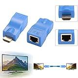 Extender HDMI, da 1080P a RJ45 Ethernet Extender per segnale di rete Adattatore per trasmettitore e ricevitore Over tramite cavo CAT6 singolo 100ft / 30m per HDTV HDPC STB