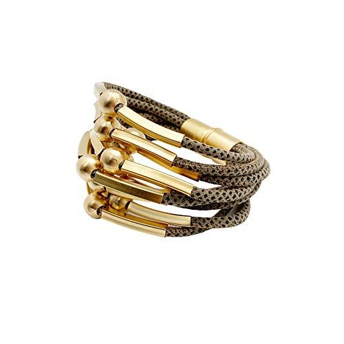 NIEVOS JEWELRY Pulsera envolvente chapada en oro de 24 quilates con cuentas y tubos en cordones de mocha punteados con cierre de imán, joyería de estilo grueso, hecha a mano en Israel