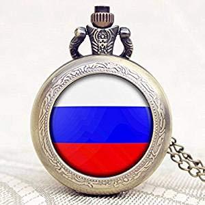 Taschenuhr, Vintage-Stil, russische Flagge, bronzefarbener Anhänger, Halskette, handgefertigt, Taschenuhr, Halskette, Schmuck, russische Flagge, Geschenk