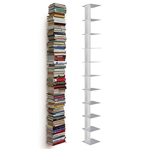 MOCAVI Haseform RAL 7035 - Estantería de pared (170 cm, para libros de 1,80 m), color gris claro
