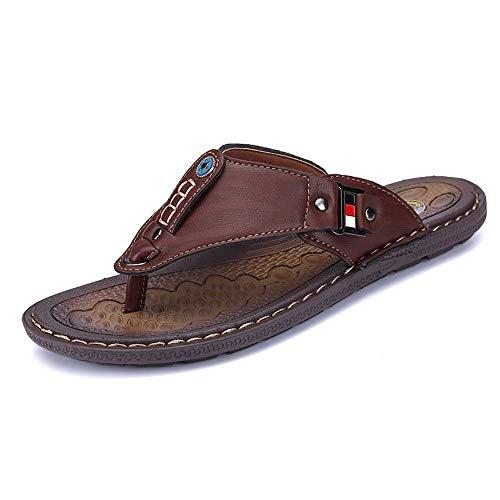 Czcrw Zapatillas Verano Playa Hombres Chanclas Zapatillas de Cuero de la PU Zapatos de Hombre Sandalias Tanga de Goma al Aire Libre Zapatos de Playa de Cuero de los Hombres Nuevo (tamaño : 38 EU)
