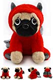 Pug Stuffed Animal, Pug Dog Wearing Cute Costume, Plushies Pug Dressed as Cute Funny Plush Toys for Kids Stuffed Animals Gift for Lover 10 Inch (Pug-Devil RE)
