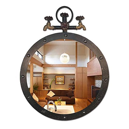 LIYANJJ Miroir Mural Circulaire en métal rétro Fer Salle de Bain Robinet d'eau Design Industriel miroirs Suspendus Vintage décoratif HD Verre pour entrées, Toilettes, Salons