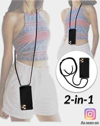 Lifestyle Designs New 2-in-1 Crossbody Case iPhone Detachable Adjustable Strap, Doubles as Lanyard, Premium Slim Drop Proof Bumper, Cross Body Chain Handy for Travel & Every Day (Balck, iPhone XR)
