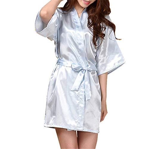 Vestido Pijama Mujer Kimono Corto Bata de Satén Lencería Kimono Satén Bata Albornoz Camisón Azul Claro EU 40