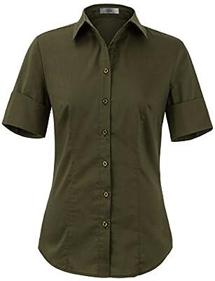 EZEN Women's Basic Slim-FIT Short Sleeve Button Down Shirts Simple Formal Casual Shirt Blouse