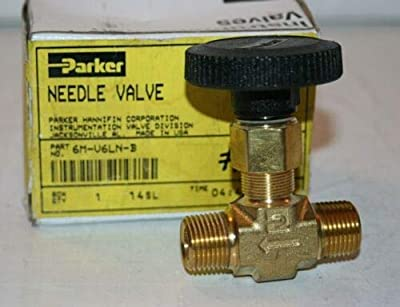 """3,000 Max psi, 3/8"""" Pipe, Brass, Inline Instrumentation Needle Valve from Parker"""