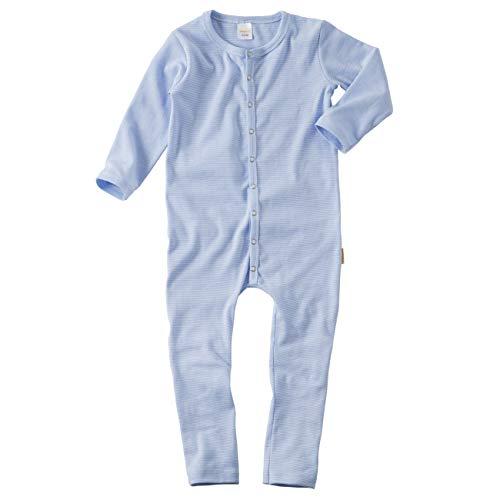 wellyou, Schlafanzug, Pyjama für Jungen und Mädchen, Einteiler langarm, Baby Kinder, hell-blau weiß gestreift, geringelt, Feinripp 100% Baumwolle, Größe:68 - 74 Blau