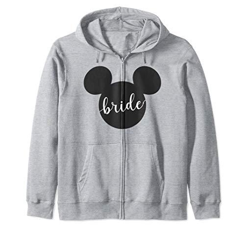 Disney Mickey Mouse Head Silhouette Bride Cursive Text Sudadera con Capucha