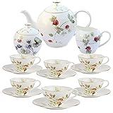 YJF-MRY Set Regalo per tè E caffè in Ceramica da 15 Pezzi, Set da tè in Porcellana, Set da caffè Vintage in Bone China, Tazze da Teiera E Servizio Piattino per 6