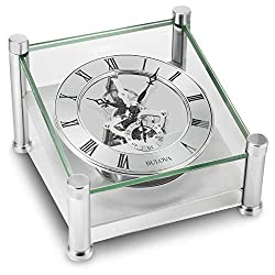 Bulova B9850 Quantum Tabletop Clock, Brushed Silver