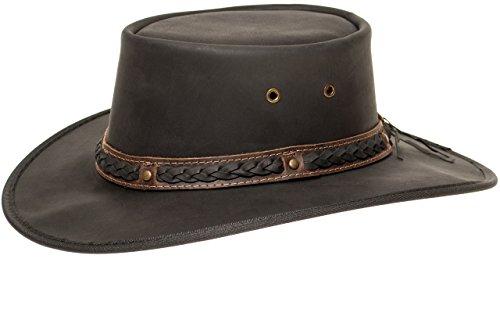 Barmah Hats Barmah 1022 Squashy Bronco Cooper Crossing Lederhut aus Australien + Kinnriemchen | Schwarz/Black | Size L