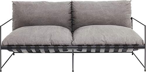 Kare Design lounge, grigio, moderno relax, divano a 2 posti, con braccioli, colore: nero, 90 x 180 x 88,5 cm, cotone, (H/B/T) 90x180x88,5cm
