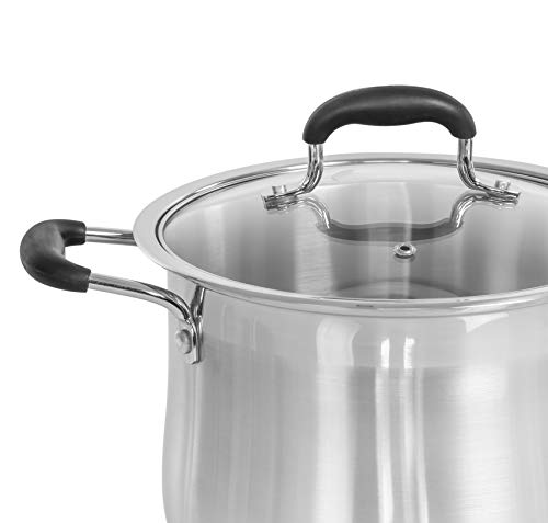 CONCORD Stainless Steel Stock Pot with Glass Lid (Induction Compatible) ((5 QT)