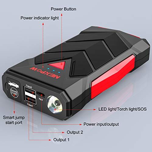 NEXPOW T11 Avviatore di Emergenza - 1000A verrà spedito Entro 24 Ore, Avviatore Auto Portatile per Motore Benzina Fino a 7.0L e Diesel 5.5L, Torcia Elettrica a LED, Doppie Porte USB