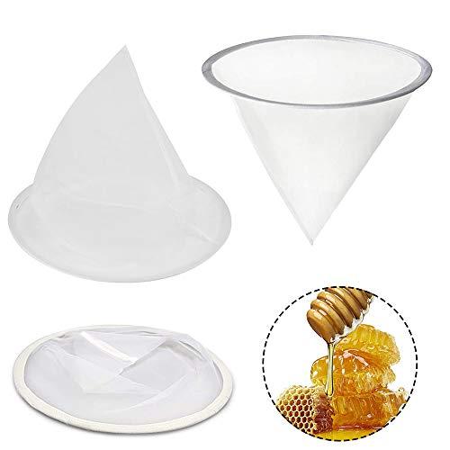 3 Piezas Colador Filtro Miel, Colador Apicultura, Filtros Miel para Apicultura, 40 cm Forma Embudo Nylon Malla Fina Colador Miel para Procesamiento Miel, Extracción, Filt (Blanco)