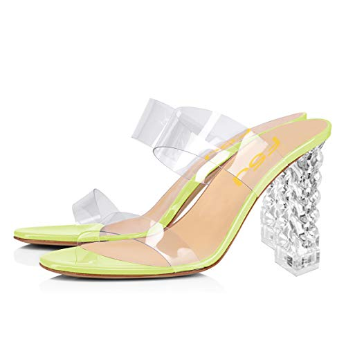 FSJ Women Clear Double Strap Mules Slip On Open Toe Sandals Transparent High Heels Shoes Size 12 Lime Green