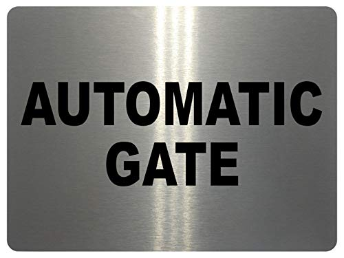 xtra-print 739 AUTOMATIC GATE Safety Metal Aluminium Plaque Sign For House Office Garden (197x141mm, White)