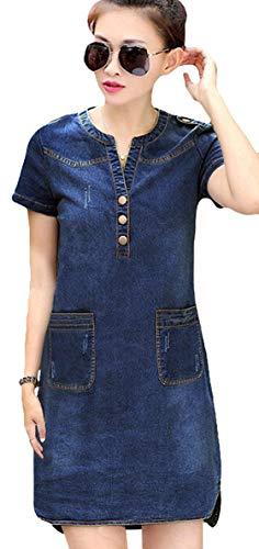 Women's Vintage Fitted V-Neck Short Sleeve Denim Dress 3