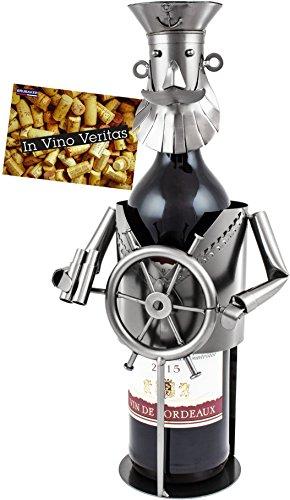 BRUBAKER Weinflaschenhalter Flaschenständer Kapitän Deko-Objekt Metall mit Grußkarte für Weingeschenk