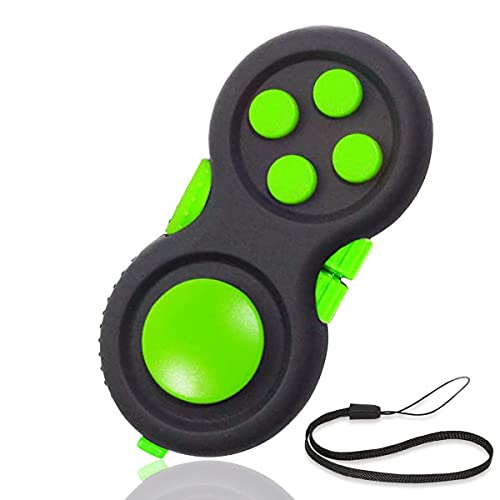 UOOEFUN Fidget Pad Toys - 8 Fidget Functions Mini Handheld Cube Controller Game Pads for Kids and Adults ADHD, OCD , Autism, Anxiety & Stress Relief (Black / Green)