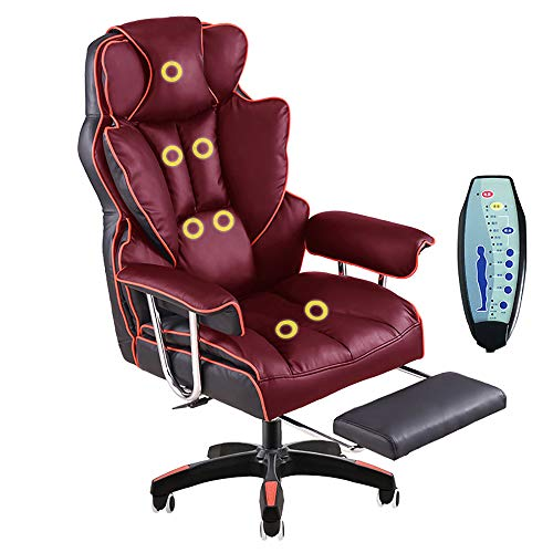 L.HPT-chairs Computer-Vorsitzender Luxury Office Chair Home Office Relaxing Chair PU Leather Armchair/7-Point-Massage High Back Desk Work Swivel Chair,Red red,Massage