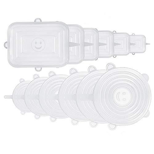 XWU Silicone Stretch Tids, 12-Pack Various Tamanhos Cover for Bowl Reutilizável Durável e expansível Tampas de silicone para alimentos frescos e sobras Stretch para Container, tigela na máquina de lavar louça