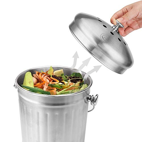 Newline-NY-Stainless-Steel-Indoor-Compost-Bin-for-Kitchen-Countertop-13-Gallon-Recycling-Pail-Bucket-with-2-Charcoal-Filters