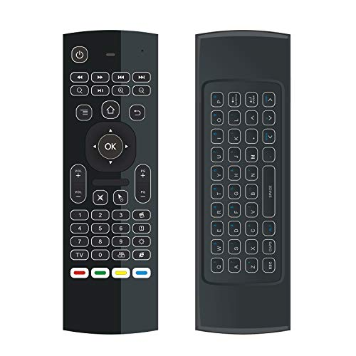 ILEBYGO Mini Wireless Keyboard Air Remote Mouse Control with Backlit MX3 IR Learning for Android TV Box, PC, Projector, HTPC etc.